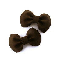 Set of two small chocolate brown bows on barrette clips