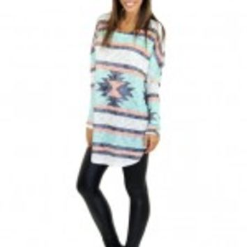 Mint And Ivory Tribal Print Top