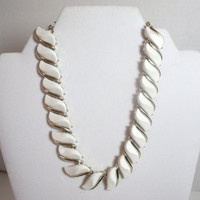 Vintage Choker Necklace Corocraft white plastic gold trim Mid Century design costume jewelry
