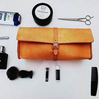 Leather Mens Dopp Kit - Toiletry Shaving Bag - Handmade in America