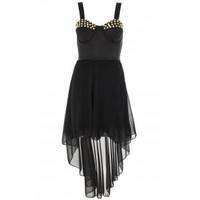 Black And Gold Stud Dip Hem Dress - Quiz Clothing