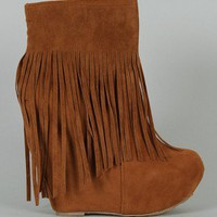 Dollhouse Sheena Fringe Platform Wedge Bootie