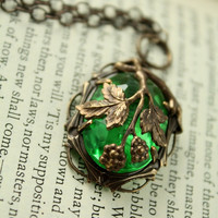 "Vintage Tooled Artisan Brass ""Fruit of the Vine"" Czech Glass Necklace"