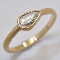 Pear Shaped Rose Cut diamond ring  18k gold by Onestonenewyork
