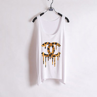 Dripping Leopard Chanel - Women Tank Top - White - Sides Straight