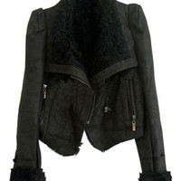 ROMWE | Gezuckt Shearling Collar Black Jacket, The Latest Street Fashion