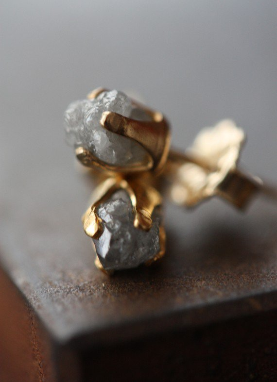 Rough Diamond Stud Earrings by LexLuxe on Etsy