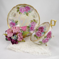 Tea Cup and Saucer Vintage Pink Roses Lusterware Footed Cup with Lace Hankie and Corsage Gift Set