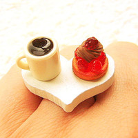Food Ring  Coffee Strawberry Cake Miniature Food Jewelry