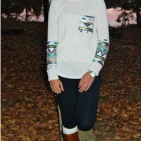 Long sleeve Ivory Sequin Tip