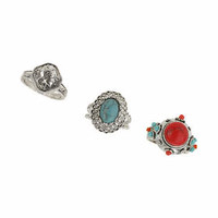 Semi Precious Stone Ring Pack - Turquoise