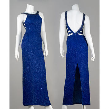 Vintage 80s Beaded Silk Evening Gown / 1980s Royal Blue Long Formal Dress / Sean Collection Versace Style Cut Out Prom Dress / XS Small S