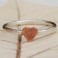 Eco Friendly Recycled Sterling Silver Stacking Ring  - Rustic Romance - Custom Size