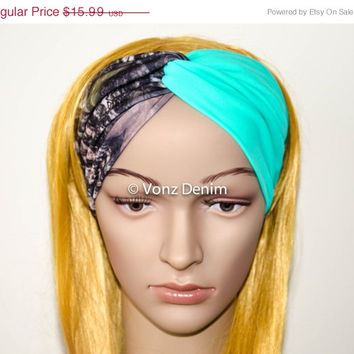 VALENTINES DAY SALE Camo and Mint Jersey Turban Headband, Wide Stretchy Women's Head Wrap, Girly Hair Accessories, Twisted Fabric Hair Wrap