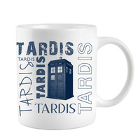 Tardis Coffee mug for Dr Who fan with Blue Police Box telephone booth