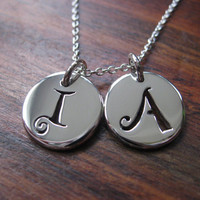 Two initial Silver Pendant Necklaces