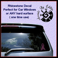 Breast Cancer Ribbon Rhinestone Decal 20% sale donated to Breast Cancer Research Foundation perfect  Laptops Tumblers Car Window Decal