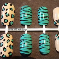 Aqua Leopard and Zebra Mixed False Nail Set