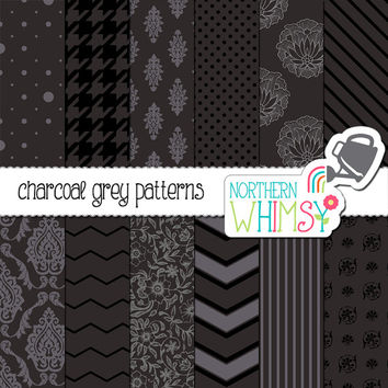 Charcoal Grey Digital Paper Pack – dark neutral papers for scrapbooking, invitations, card making, etc – instant download – CU OK
