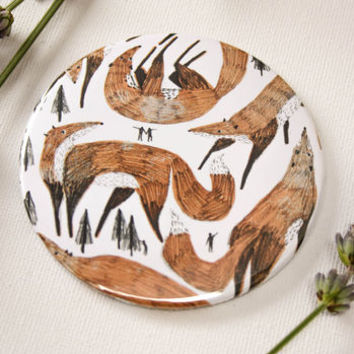 Giant Foxes Illustrated Pocket Mirror