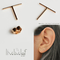 14K Gold Staple Earrings Fun trendy gold studs Line post earrings dash earrings modern bar stud jewelry minimalist piece gift ideas for her