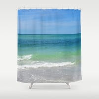 Blue Green Sea - Shower Curtain, Beach Surf Ocean Water, Coastal Home Nautical Vanity Bath Tub Hanging Curtain. Available in 71x74 Inches