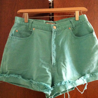Vintage Turquoise Jean High Waisted Shorts Size 12