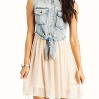 denim-chiffon-contrast-dress CREAMBLUE - GoJane.com