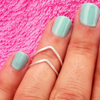 2 Chevron Above The Knuckle Ring - Silver Chevron Knuckle Rings - Set of 2 by Tiny Box -