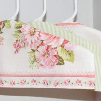 SALE: Set of 3 Hanger Covers, Pastel pink, green stripes, Up-cycled Sheets