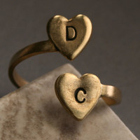 Custom Brass Initial Ring - Two Heart Initial Ring, Personalized