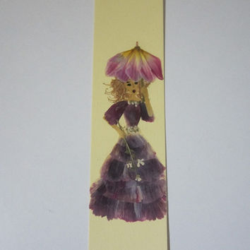 """Handmade unique bookmark """"Protect your head from the harmful effects"""" - Decorated with dried pressed flowers and herbs - Original collage."""