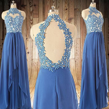 Royal blue lace Prom dress sexy backless Wedding Party Dress Long  Bridesmaid Dresses Long Prom Dresses party dress,formal dress
