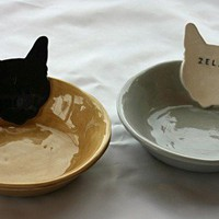 Personalized Kitty Cat Bowl Dish 6 1/2 inches by sunshineceramics