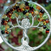 Mother Nature Welcomes Autumn Tree of Life Pendant - Recycled Sterling Silver, Amber and Peridot Tree Goddess
