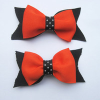 Halloween Hair Bows,   Orange And Black Pigtail Bow,  Girls Toddler Hair Bows