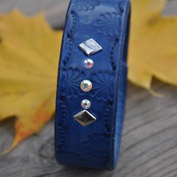 Blue Crystal Leather Wrist Band SALE