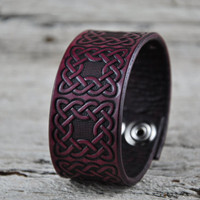 Celtic Knot Leather Cuff