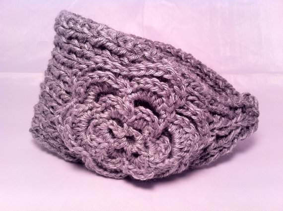 Knitting Pattern For Headband For Winter : Knitted Winter Headband Chunky Gray from ...