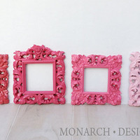 Pink Ombre Coordinating Ornate Square 4 Frame Set