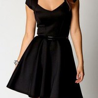 Sweetheart neck black skater dress, casual, day work wear