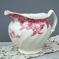 vintage pitcher red and pink cherry and by KatyBitsandPieces