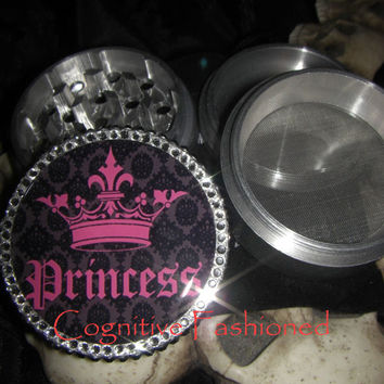 Princess Pink n Black with Crystals 4 Piece Grinder Herb Spice Aircraft Grade Aluminum C.N.C