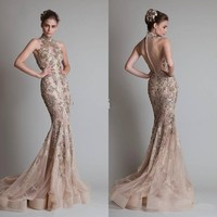 Vogue High Neck Mermaid Applique Evening Dresses Sexy Formal Party Prom Gowns