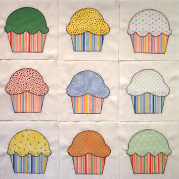 Cupcakes Appliqued Quilt Blocks