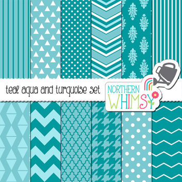 Teal Aqua and Turquoise Digital Paper Pack – scrapbook papers for invitations, card making, web backgrounds, etc – instant download – CU OK
