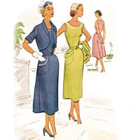 Vintage Sheath Dress 50s Sewing Pattern Matching Bolero Jacket Small