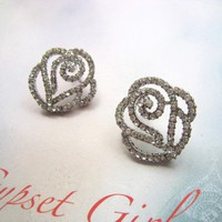 White Crystals Embellished Elegant Rose Studs Earrings. Bridesmaids