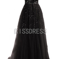 Black Prom Dresses.Cheap Prom Dresses.Tulle Black Beading Dress/Long Prom Dress/Formal Dress/Wedding Dress/Vintage Dress/Prom Dress 2014