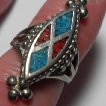 Southwestern ring, turquoise, coral inlay, size 4, sterling, handmade, gift ideas, Gingerslittlegems